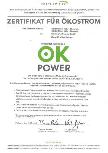 Ökostrom-Zertifikat ist eingetroffen