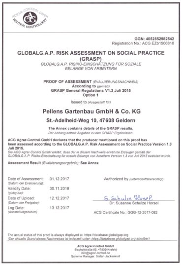 Grasp-Certificate for Social Standards